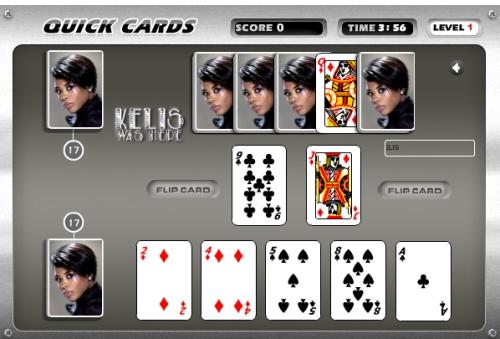 Kelis Quick Cards Hi-Score Flash Game Screenshot